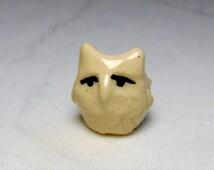 White Owl Terrarium Figurine - Ceramic Owl Miniature - Pottery Owl - Terrarium Miniature - Miniature Figurine - Creamy White - Studio Choice