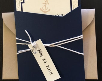 Nautical Wedding Invitation -- Rebecca Wedding Invitation -- Wedding Cruise Invitation -- Pocket Wedding Invitation