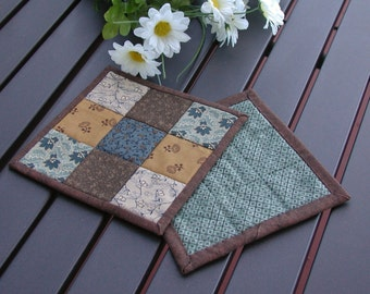 Blueberry Brownie Quilted Mug Rugs - Set of 2