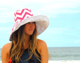 Poolside Sun Hat Pink and White Summer Cotton Sunhat Bridesmaid Gift by Freckles California