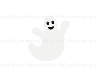 Smiling Ghost Embroidery Design Instant Download