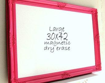 Girls Room Decor MAGNETIC DRY ERASE Framed Whiteboard Large White Board Pink Fuchsia Playroom Dry Erase Board Hot Pink Decor Organization