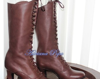 Victorian Boots in Iced Coffee / Brown Leather Victorian Style Heeled Brown Boots Ankle boots  Customized lace up boots