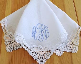 Wedding Handkerchief:  White German Guipure Lace Handkerchief Style No. 3825 with Classic 3-Initial Monogram