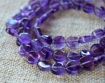 Amethyst 6-7mm Flat Round Beads Gemstone Bead 16 Inch Strand