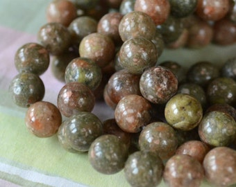 40pcs 10mm Natural Gemstone Beads Autumn Jasper 16 Inches