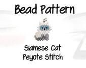 Siamese Cat Delica Seed Bead Pattern, Peyote Beading   DIGITAL DOWNLOAD