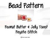 Peanut Butter and Jelly Toast , Peyote Stitch Bead Pattern   PDF DIGITAL DOWNLOAD