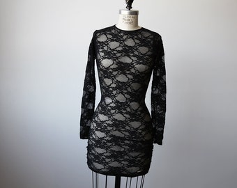 SALE 50% OFF Vintage 90s black stretch lace mini dress long sleeve goth grunge XS-S