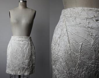 Vintage VERSACE Silk Crinkled High Waist Ivory White Mini Skirt Designer 90s XS-S