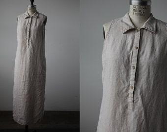 Vintage LINEN Natural Ecru Beige Maxi Dress Button Down Oxford Collar Minimal Minimalist 90s