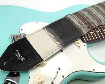 Extra Wide 1977 3 Inch Padded Guitar And Bass Strap Brown and White