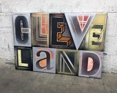 Cleveland No. 67 Large Block Lettering Painting on Canvas 24 x 36