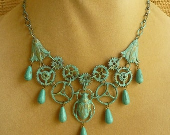Clockwork Scarab Verdigris Metal Steampunk Bib Necklace