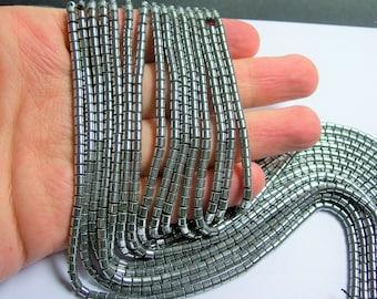 Hematite Silver - 3mm tube beads - 1 full strand - 133 beads - AA quality - 3mmx3mm - PHG213