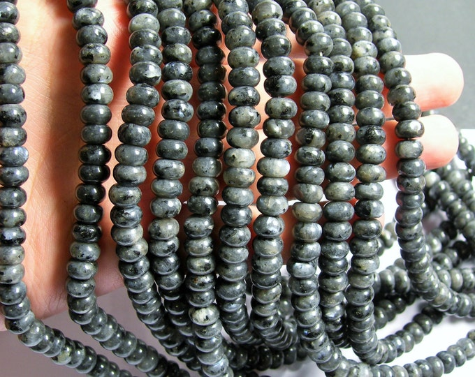 Larvikite black labradorite - 5mmx8mm rondelle - full strand -  80pcs -  A quality - RFG717
