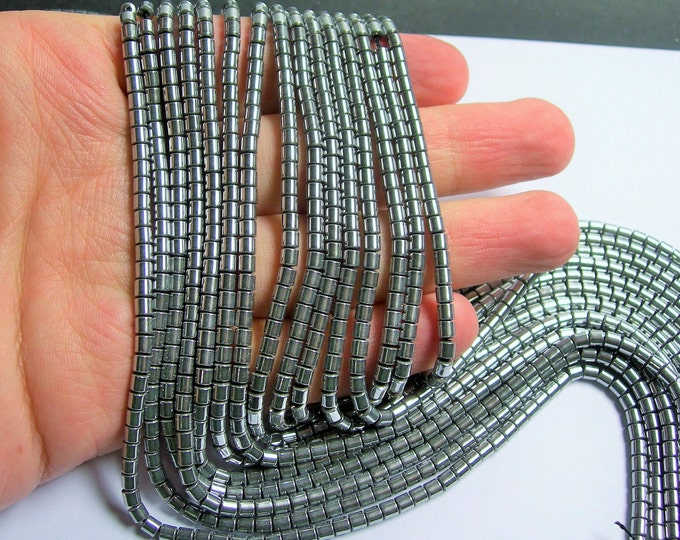 Hematite Silver - 3mm tube beads - 1 full strand - 133 beads - AA quality - 3mmx3mm - PHG213