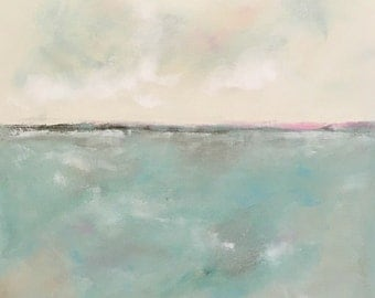 Soft Blue Seascape Abstract Original Painting -Quiet Ocean 20 x 20
