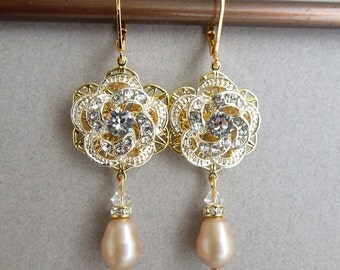 Champagne pearl Earrings Bridal Rhinestone Earrings Swarovski Pearls bridal earrings Pearl Rhinestone Earrings gold  vintage style ROSELANI