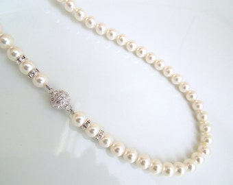Bridal Pearl Necklace,Ivory Swarovski Pearls,Bridal Classic Necklace,Vintage Style,Bridesmaid Necklace,Wedding Pearl Necklace,Pearl,IRENE