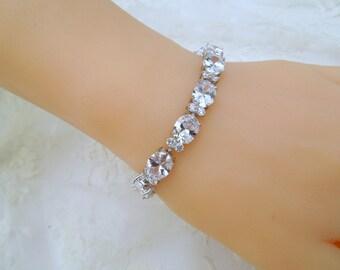 Crystal Bridal Bracelet Crystal Bracelet Crystal Bridal Jewelry Wedding Tennis Bracelet Crystal Wedding Jewelry cubic zirconia FAITH