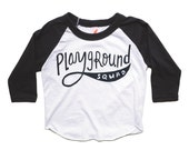 Playground Squad Baseball Tee, Toddler Tshirt, Baby Boy Gift, Hipster Kids Tee, Hand Lettering, Screenprinted Tshirt, Baby Girl Gift