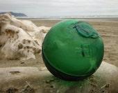 Japanese Tri-Mold Glass Fishing Float - Baseball Size, Shade of Green, Alaska Beachcombed, Hard to Find Mark