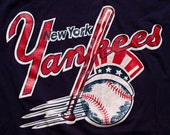 New York Yankees Logo T-Shirt, Sand-Knit MLB NY Apparel, Vintage 80s