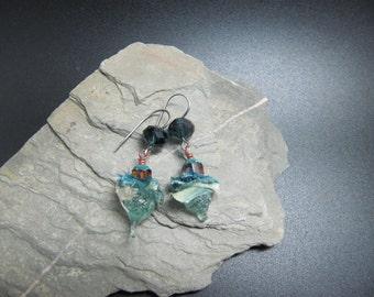 Lampwork and Sterling Silver Earrings - Sea drops