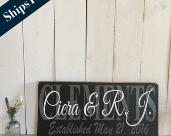 Family Name Sign - Custom Hand Painted Decor -Wedding Gift for Cuople - Established Name Board - Mr & Mrs Sign - Wedding Decor -Home Decor
