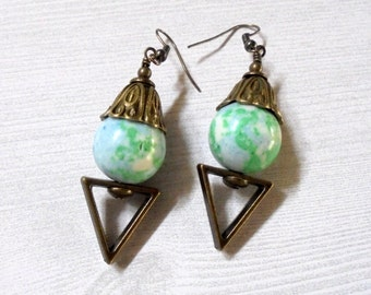 Chunky Blue, Green and White Mosaic Earrings (2653)