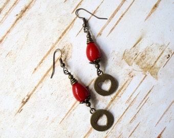 Red and Brass Heart Earrings (2497)