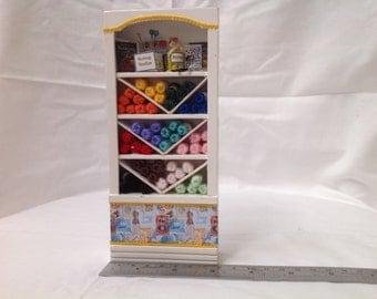 Dolls House Miniatures - 1/12th Knitting / Wool Shop  Shelf Display