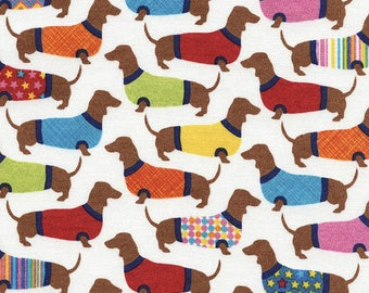 Dachshund Dog Fabric Timeless Treasures Novelty Fabric by Hot Diggity Dog Craft Supplies and Tools Fabric and Notions, Fabric, Puppy Fabric