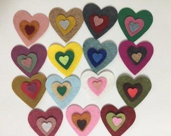 Wool Felt Valentine Hearts 45 total - Random Colors 3497