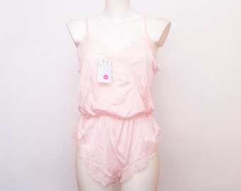 pink teddy lace dead stock Vintage size S