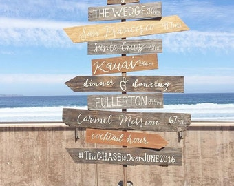 Custom Hand painted Vertical Wooden Direction Wedding and Event Welcome Sign - Wooden Wedding Signs - Wood