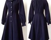 French VTG navy blue 40s coat style wool princess