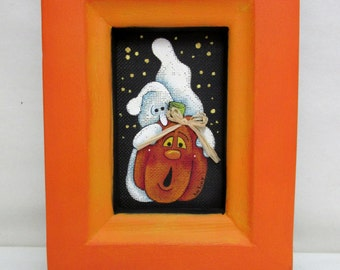 Ghosts and Pumpkin Folk Art, Hand or Tole Painted, Framed in Oranges, Halloween Art, Folk Art White Ghost and Pumpkin, Hand Made Wood Frame
