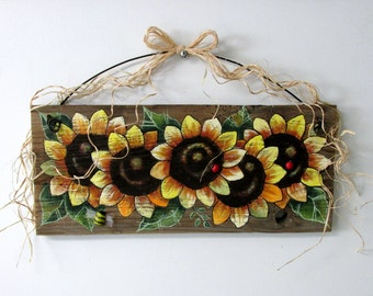 Five Sunflowers Yellow, Tole Painted on Reclaimed Barn Wood, Summer Time Flowers, Reclaimed Wood, Yellow Sunflowers, Red Lady Bug,Bumble Bee