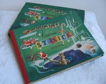Visions Of St. Nick In Action 3D Pop Up Book 1950 With Box, Vintage Christmas Santa Diorama, By Louise Dyer Harris & E. A. Bradford