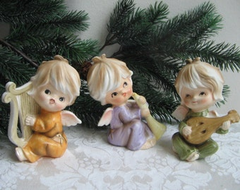 Vintage Angel Figurines Porcelain Trio Set of 3 Japan, Angels Playing Music Musical Instruments, Adorable Christmas Cuties