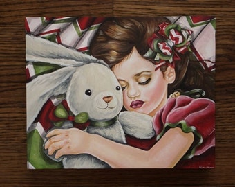 Waiting For Santa - Original Christmas Art- 8x10 Inches Acrylic Painting Sleeping Little Baby Girl and Bunny - Holiday Portrait Decoration