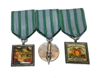 Steampunk Cosplay Medal // Custom SINGLE CHARM Medallion // Green Silver Stripe Ribbon