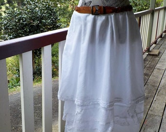 "layered skirt, upcycled vintage inspired white cotton, 36"" waist,  XL, XXL"
