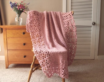 """Soft Rose Pink Hand Crochet Blanket, Afghan Throw Blanket, Victorian Lacy, Lace 61x43"""" bed couch sofa solid More @CozyHomeCrochet"""
