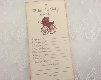 Wishes for Baby Tags Wish Tree Tags Dear Baby Carriage