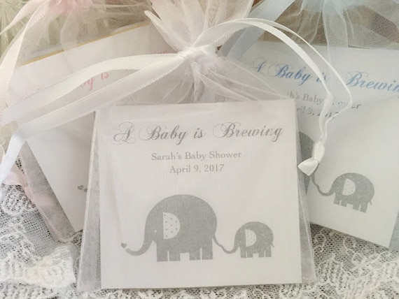 Elephant Baby Shower Favors Tea Bag Favors Baby By