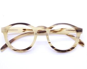 Only One  OX horn round handmade prescription sunglasses eyeglasses from TAKEMOTO
