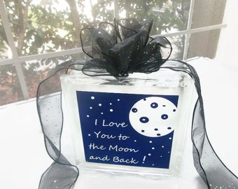 Glass Block Light   Glass Night Light   Glass Luminary   Unique Gift   Frosted Glass Light   I Love You To The Moon   Quote Night Lights